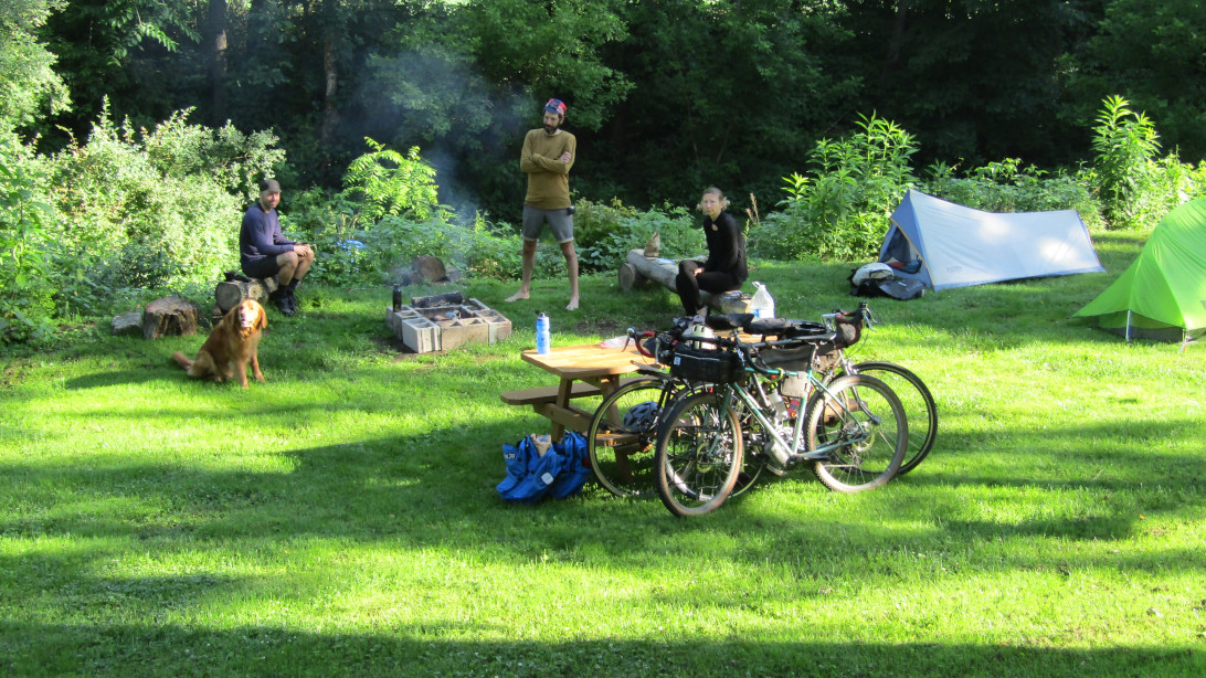 1st bicyclists to camp at the Peace Park