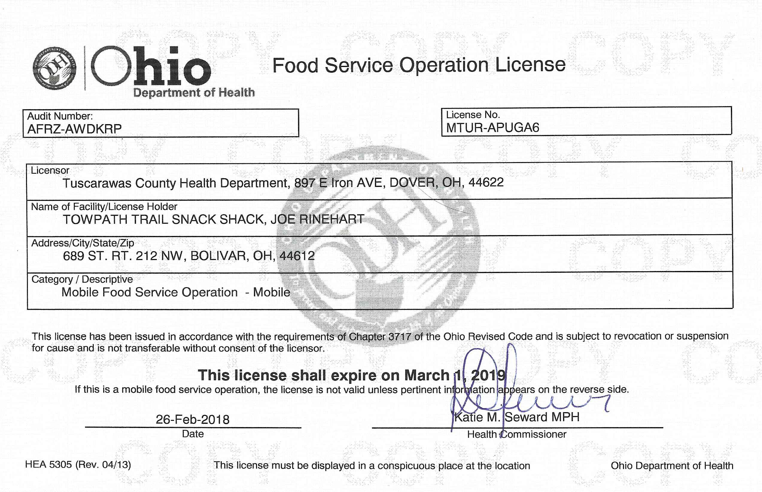 ttss ohio food service license 2018 19